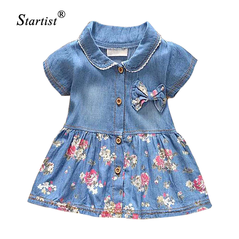 7065a2060fa75 2017 Spring Summer Baby Dress Casual Style Baby Girls Dress High Quality  Bow Baby Denim Dress Turn Down Collar Baby Girl Clothes