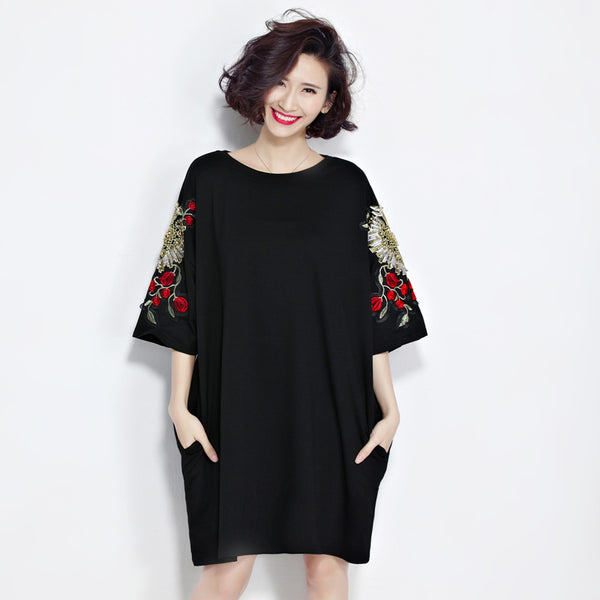 2017 Spring Summer Plus Size Tees Tops Embroidery T Shirt For Women Black Half Sleeve Casual Loose Oversize Beading T Shirt