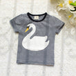 2017 Summer Family Matching Clothes Swan Striped Family Cothing Cotton Mother And Baby T-Shirts Cotton Brother Sister Outfits