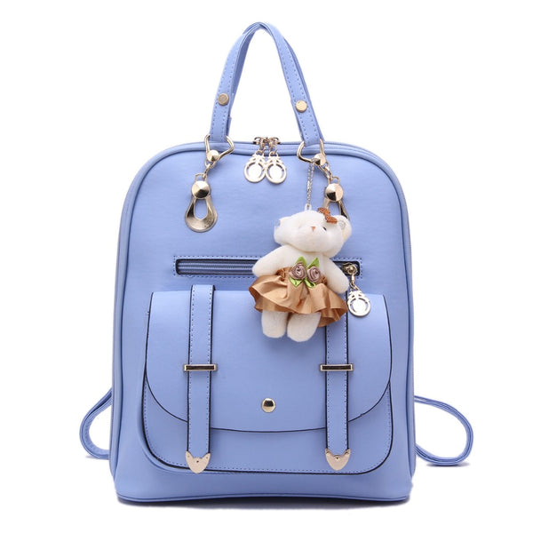 2017 Women Backpack Korean Students Backpack Lady Pu Leather Shoulder Bags Zipper Schoolbags for