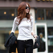 2017 Women Korean Sexy Cotton t-shirt Patchwork Mesh Hollow Out Tops Spring Autumn Long Sleeve Black White Navy Tees Top A559