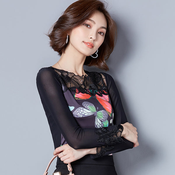 2017 Women Plus Size Embroidery Blouse Tops Feminina Spring Autumn Butterfly Print Elegant Mesh Blusa Womens Long Sleeve Shirt