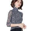 2017 Women Plus Size Turtleneck Chiffon Blouse Shirt Tops Feminina Spring Autumn Plaid Mesh Blusa Women Long Sleeve Blouses CS39