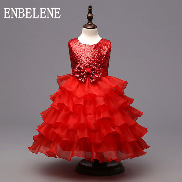 2017 autumn baby girls elegant sequined dresses for children red kids evening gown party wedding layered princess dress FH271