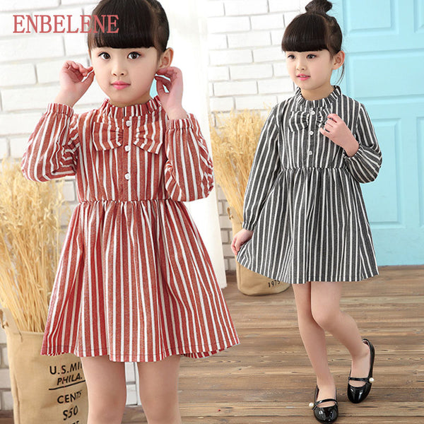 2017 autumn baby girls full sleeve striped princess dresses children red blue A-line petticoat kids casual cotton dress FH324