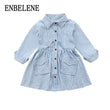 2017 autumn girls fashion full sleeve denim dresses for children wash jean big kids turn down collar striped blouse dress FH503