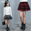 2017 autumn girls pleated mini skirt for children red black cotton big kids plaid micro knitted full skirts for schoolgirl FH277