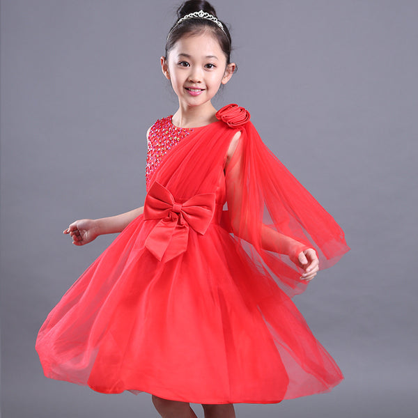 2017 big girls elegant A line princess dresses children flowers Sequined bow red big kids evening gown for party weddinG FH318