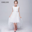 2017 big girls princess lace trailing dresses children solid red white bowknot crystal kids evening gown for party wedding FC046