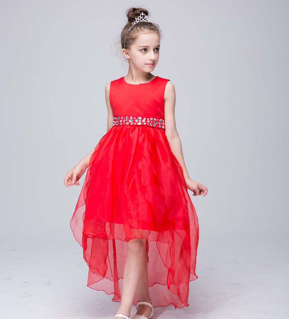 2017 big girls princess lace trailing dresses children solid red white  bowknot crystal kids evening gown for party wedding FC046 5fc41ec14