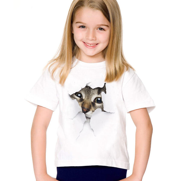 2017 fashion summer cute children brand clothing for kids girl short sleeve print 3d cat  t
