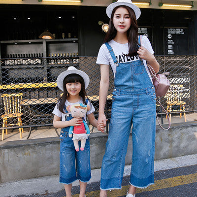 2017 new mother and daughter clothes denim overalls for girls women jeans mommy and me clothes family matching clothes