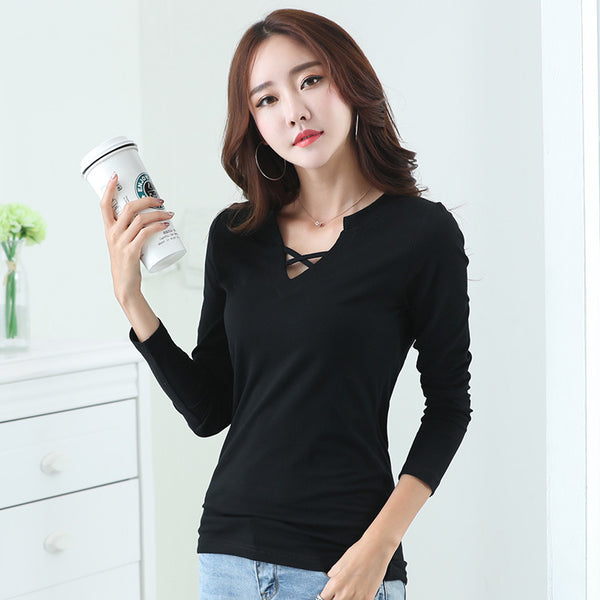 2017 slim casual style v neck t shirt women tops autumn winter black gray white long sleeve t-shirt women tee shirt female tops