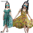 2017 summer girls fashion beach bohemian dresses children yellow green big kids chiffon shoulderless mid calf floral dress FG065