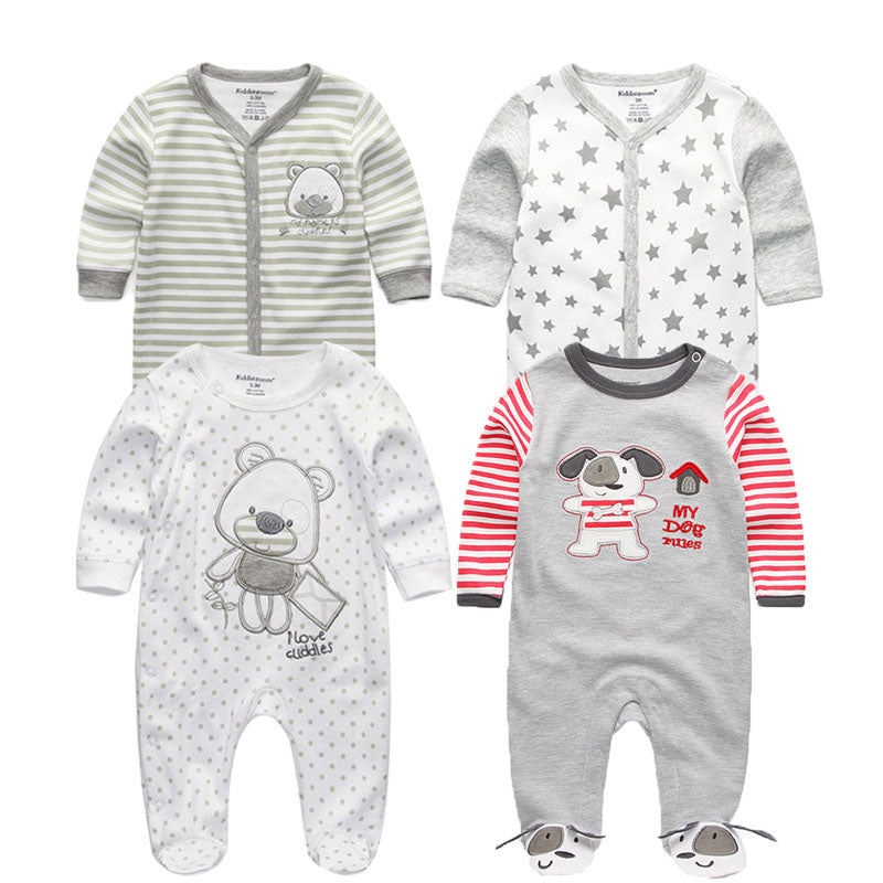 4e465ba44 2018 5PCS lot Newborn Baby Girl Rompers Full Long Sleeve Cotton ...