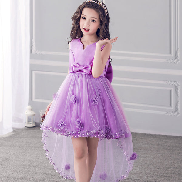2018 Baby Girls Lace Train Dress Wedding Party Children Red Purple Big Kids Sleeveless Evening Ball Gown Mullet Dresses FH426