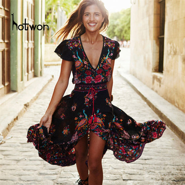 2018 Beach dress sexy dresses boho bohemian people Holiday summer long maix cotton women party