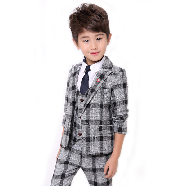 2018 Boys Formal Suits Fashion Kids Plaid Wedding Blazer Vest Pants Suit Autumn Winter Toddler
