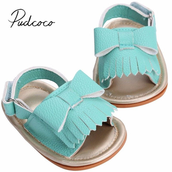 2018 Brand New Toddler Infant Newborn Princess Flower Summer Strappy Leather Bow Tassel Baby Girl
