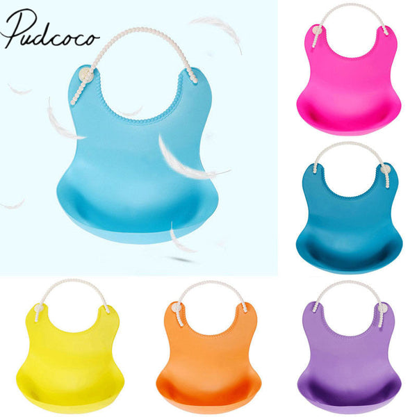 2018 Brand New Washable Soft Silicone BabyBibs Eating Pinafore Adjustable Pocket Food Catcher Baby Silicone Bibs