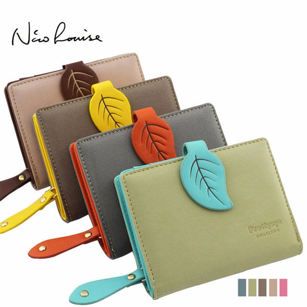 2018 Brand New Women Leaf Hasp Wallet Fashion Short Middle Long Leather Coin Purses Card Holders Girls Money Clutch Bag Carteras