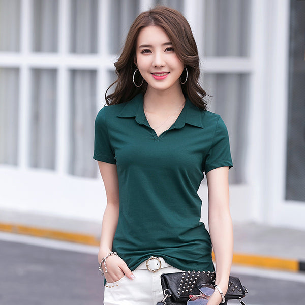 2018 Casual Polo Shirt Women Cotton Solid Female Slim Polo Shirt Women Short Sleeve Tops Summer Polos shirt Women Plus Size