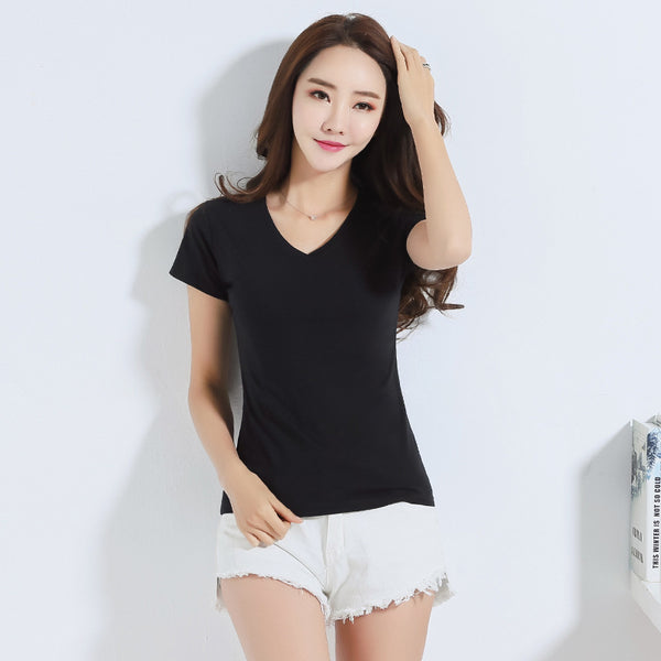 2018 Casual summer basic t-shirt women short sleeve candy colors t shirt women cotton tees solid t shirt women plus size tops
