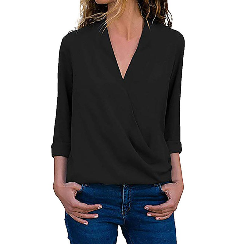 1d31c5af2d3 2018 Chiffon Blouse Long Sleeve Blouse Women Sexy Deep V Neck Solid Women  Shirts And Blouses Work