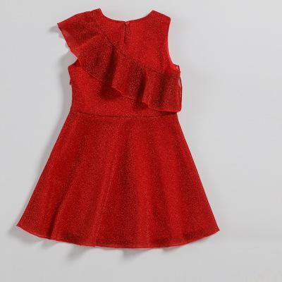 2018 Children Evening Dresses Red Polyester Ruched A-line Sleeveless Cute Smooth Kids Fashion Party Dress For Baby Girls VH074