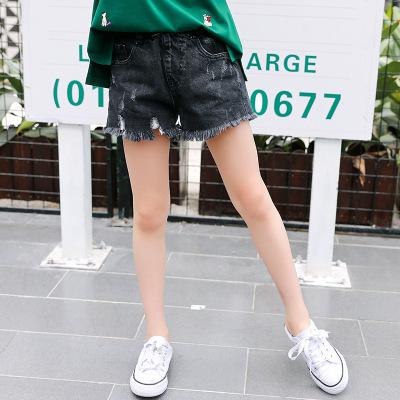 2018 Children New Summer Ripped Denim Shorts Black Blue Cotton Elastic Waist Kids Casual Short Jean Trousers For Big Girls VH045