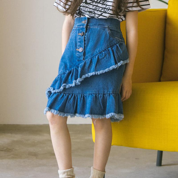 2018 Children Summer New Denim Skirt Blue Cotton Patchwork Falbala Empire Fashion Casual Kids Cowboy Skirts For Big Girls VH054