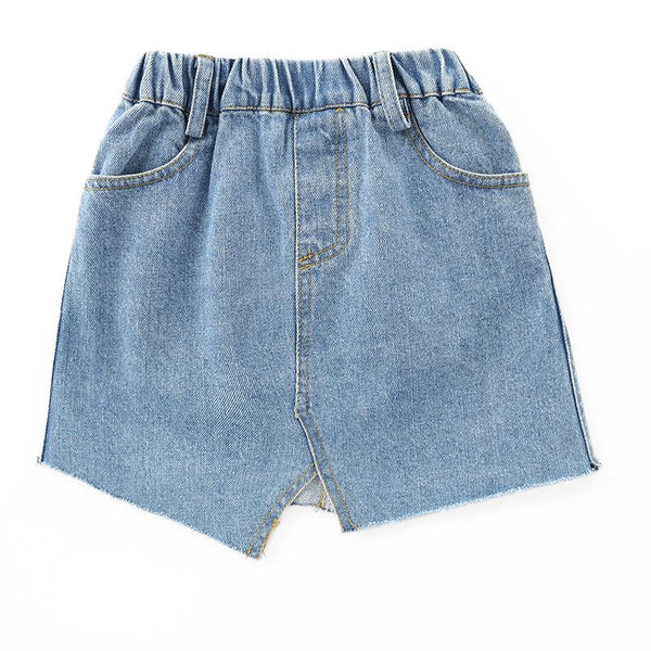 2018 Children Summer New Denim Skirt Blue Cotton Straight Casual Soft Comfortable Kids Brief Mini Skirts For Big Girls FH795