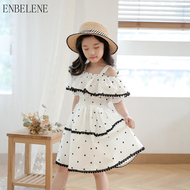 2018 Children Summer Princess Dress White Dot Cotton Ruffles Empire Pa –  Beal  8ec236351