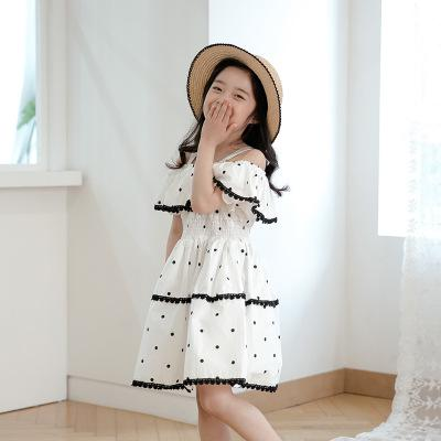 2018 Children Summer Princess Dress White Dot Cotton Ruffles Empire  Patchwork Cute Kids Crochet Lace Dresses 3275ebf2d