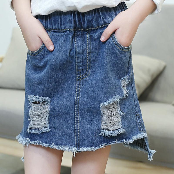 2018 Children Summer Ripped Denim Skirt Blue Polyester Asymmetrical Casual Fashion Kids Cowboy Mini Skirts For Big Girls FH796