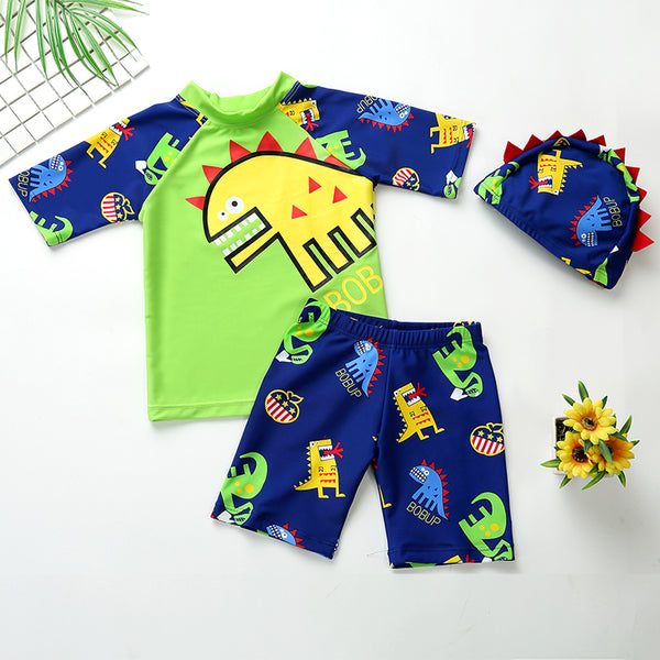 03d4bc0a4d 2018 Children Swimming Wear Boys Swimsuit 3 Pieces Suits Cartoon With Swim  Cap Kids Swimwear