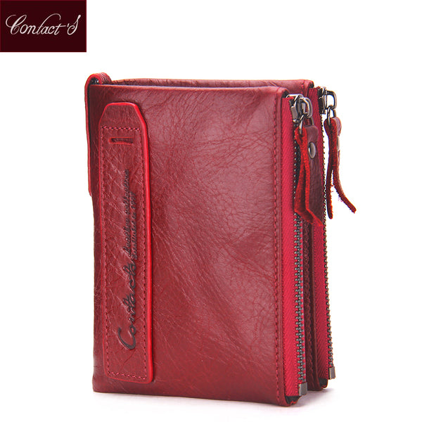 2018 Fashion Genuine Leather Women Wallet Bi-fold Wallets ID Card Holder Coin Purse With  Double Zipper Small Women's Purse