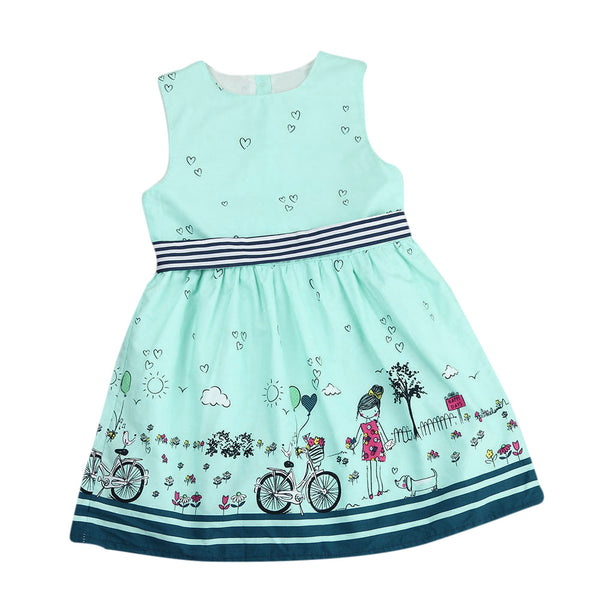 2018 Fashion Girls dress  Toddler Kids Baby Girl Sleeveless Cartoon Striped Party Princess Pageant Dresses