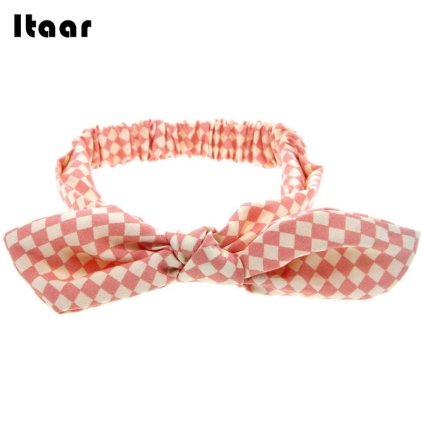 2018 Girl Baby Hair Band Rabbit Ears Headwear Headband Plaid Bow Hairband Turban Knot Headwrap