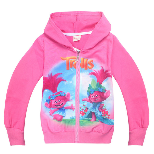 2018 Girls Spring Fall Kids Clothing 4-12 Years Cartoon Troll sweater Coat Zipper Cardigan