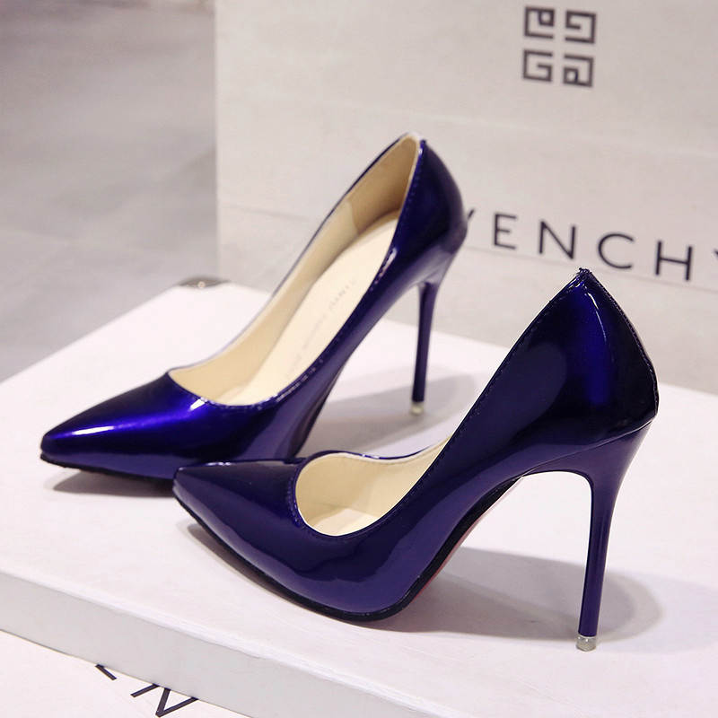 ce0864bca1a 2018 HOT Women Shoes Pointed Toe Pumps Patent Leather Dress High ...