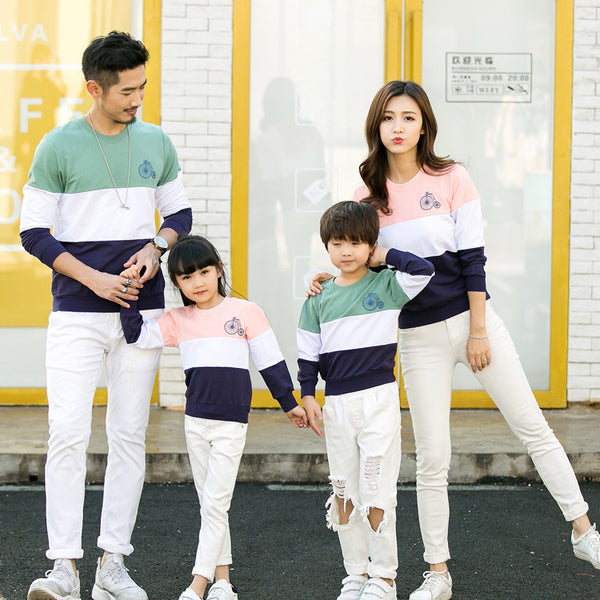 2018 Hot Sale Patchwork Desgin Summer Family Matching Outfits T-shirt Clothes For Dad Mon Daughter and Son Suits Top Clothing