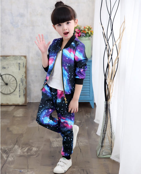 2018 Jacket for Girls Children Clothes Sets Kids Fashion Sports Suit Baby Girls Jacket Coat+Pants
