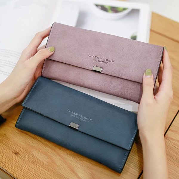 2018 Ladies Scrub Matte Leather Long Wallet Women Brand Vintage Card Holder Coin Purse Women Zipper Hasp Purse Clutch Money