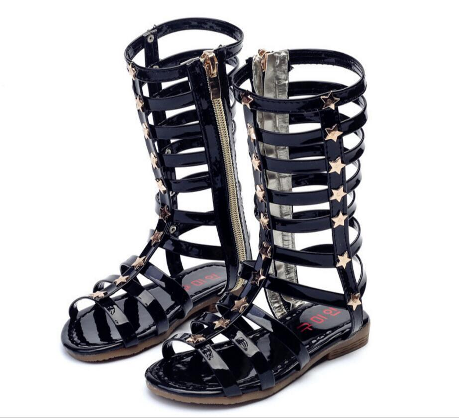 ac35f28f4dd3 2018 Little girls gladiator sandals boots scrub leather summer gold black  high-top fashion roman kid sandals toddler baby shoes – Beal