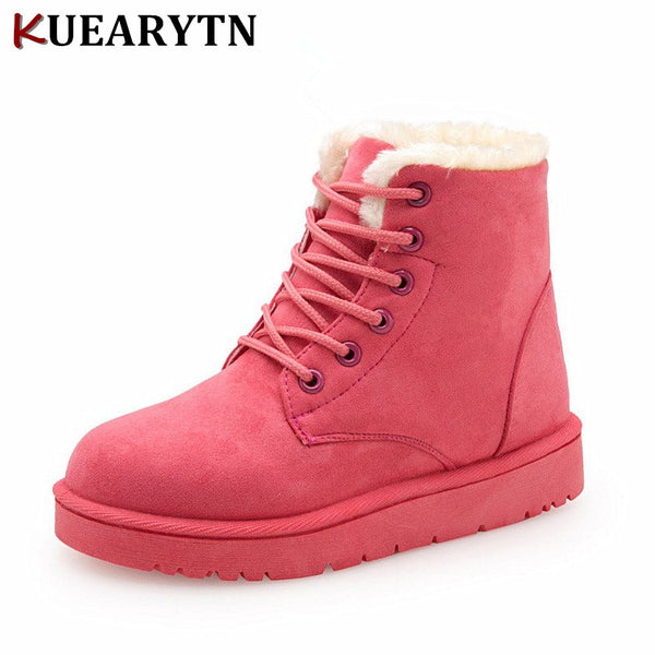 2018 NEW Hot Women Boots Winter Warm Snow Boots Women Botas Mujer Lace Up Fur Ankle Boots Ladies