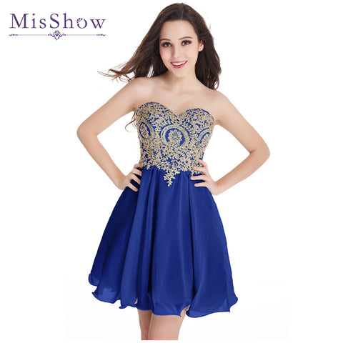 2018 New A Line Sweetheart Elegant Gold Lace Appliques Royal Blue Short Evening Dress Robe De
