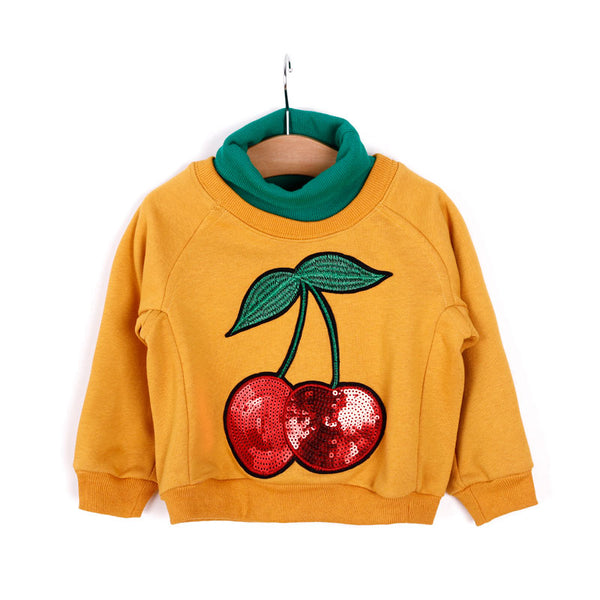 2018 New Arrival Baby Girls Sweatshirts Spring Autumn Children Clothing Cute Cherry long sleeve