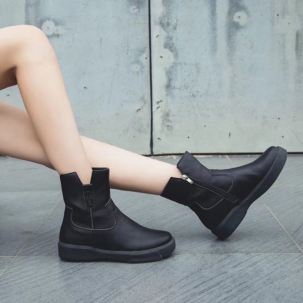 Women Leather Boots Flat Low Zipper Middle Tube Boots Casual Shoes Martin Boots