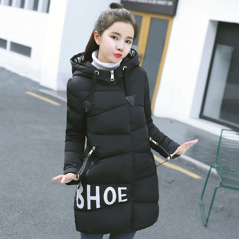 1afd5d67065 2018 New Arrival Winter Jacket Women Hooded With Letter Printing ...